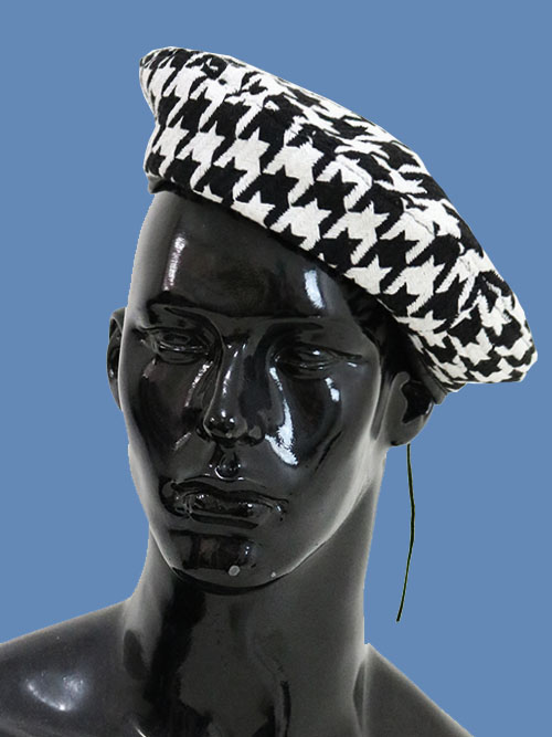 black&white check beret