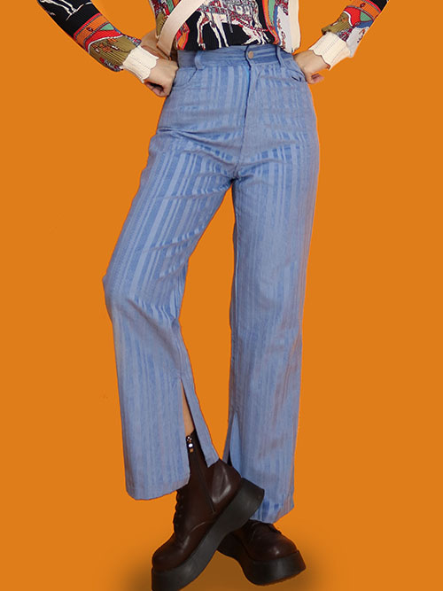 trendy denim striped pants