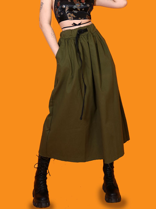 buckle long skirt (2 color)